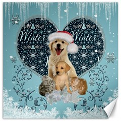 It s Winter And Christmas Time, Cute Kitten And Dogs Canvas 20  X 20   by FantasyWorld7