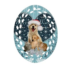 It s Winter And Christmas Time, Cute Kitten And Dogs Ornament (oval Filigree) by FantasyWorld7