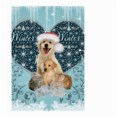 It s Winter And Christmas Time, Cute Kitten And Dogs Small Garden Flag (two Sides) by FantasyWorld7