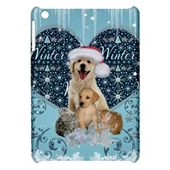It s Winter And Christmas Time, Cute Kitten And Dogs Apple Ipad Mini Hardshell Case by FantasyWorld7