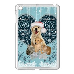 It s Winter And Christmas Time, Cute Kitten And Dogs Apple Ipad Mini Case (white) by FantasyWorld7