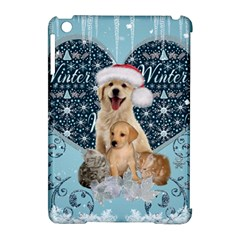 It s Winter And Christmas Time, Cute Kitten And Dogs Apple Ipad Mini Hardshell Case (compatible With Smart Cover) by FantasyWorld7