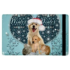 It s Winter And Christmas Time, Cute Kitten And Dogs Apple Ipad Pro 9 7   Flip Case by FantasyWorld7