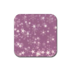 Blurry Stars Lilac Rubber Square Coaster (4 Pack)  by MoreColorsinLife