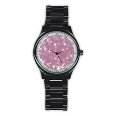 Blurry Stars Lilac Stainless Steel Round Watch by MoreColorsinLife