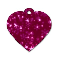 Blurry Stars Pink Dog Tag Heart (one Side) by MoreColorsinLife