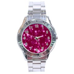 Blurry Stars Pink Stainless Steel Analogue Watch by MoreColorsinLife