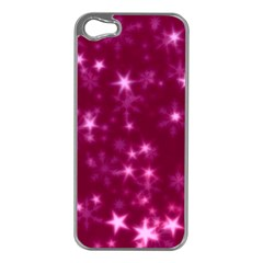Blurry Stars Pink Apple Iphone 5 Case (silver) by MoreColorsinLife