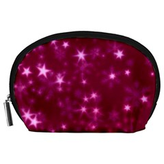 Blurry Stars Pink Accessory Pouches (large)  by MoreColorsinLife