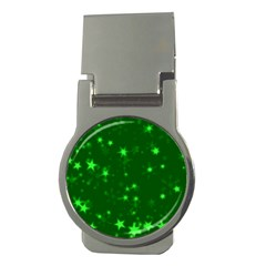 Blurry Stars Green Money Clips (round)  by MoreColorsinLife