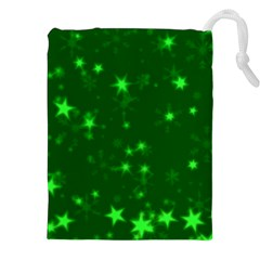 Blurry Stars Green Drawstring Pouches (xxl) by MoreColorsinLife