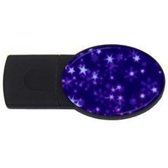 Blurry Stars Blue Usb Flash Drive Oval (2 Gb) by MoreColorsinLife