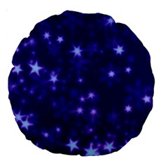 Blurry Stars Blue Large 18  Premium Round Cushions by MoreColorsinLife