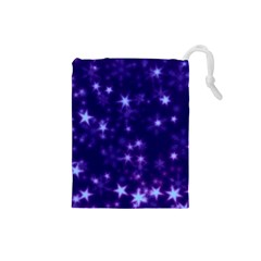 Blurry Stars Blue Drawstring Pouches (small)  by MoreColorsinLife