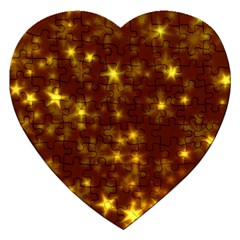 Blurry Stars Golden Jigsaw Puzzle (heart) by MoreColorsinLife