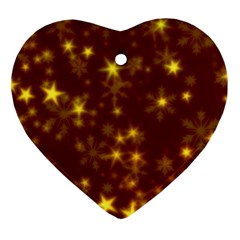 Blurry Stars Golden Heart Ornament (two Sides) by MoreColorsinLife