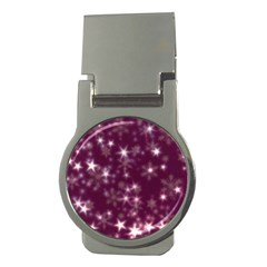 Blurry Stars Plum Money Clips (round)  by MoreColorsinLife