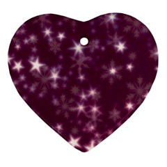 Blurry Stars Plum Heart Ornament (two Sides) by MoreColorsinLife