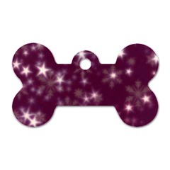 Blurry Stars Plum Dog Tag Bone (one Side) by MoreColorsinLife