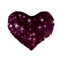 Blurry Stars Plum Standard 16  Premium Heart Shape Cushions by MoreColorsinLife