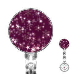 Blurry Stars Plum Stainless Steel Nurses Watch by MoreColorsinLife