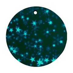 Blurry Stars Teal Round Ornament (two Sides) by MoreColorsinLife