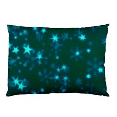Blurry Stars Teal Pillow Case by MoreColorsinLife