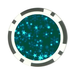 Blurry Stars Teal Poker Chip Card Guard (10 Pack) by MoreColorsinLife