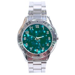 Blurry Stars Teal Stainless Steel Analogue Watch by MoreColorsinLife