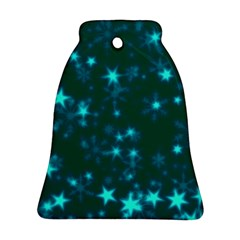 Blurry Stars Teal Bell Ornament (two Sides) by MoreColorsinLife