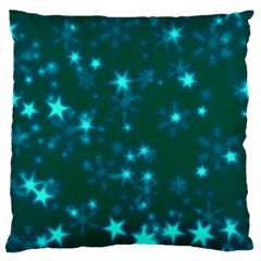 Blurry Stars Teal Large Flano Cushion Case (one Side) by MoreColorsinLife