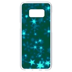 Blurry Stars Teal Samsung Galaxy S8 White Seamless Case by MoreColorsinLife