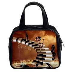 Cute Little Girl Dancing On A Piano Classic Handbags (2 Sides) by FantasyWorld7