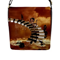 Cute Little Girl Dancing On A Piano Flap Messenger Bag (l)  by FantasyWorld7
