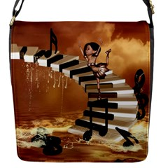 Cute Little Girl Dancing On A Piano Flap Messenger Bag (s) by FantasyWorld7