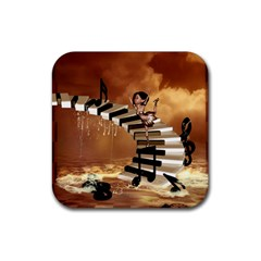 Cute Little Girl Dancing On A Piano Rubber Square Coaster (4 Pack)  by FantasyWorld7