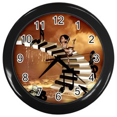 Cute Little Girl Dancing On A Piano Wall Clocks (black) by FantasyWorld7