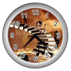 Cute Little Girl Dancing On A Piano Wall Clocks (silver)  by FantasyWorld7