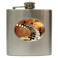 Cute Little Girl Dancing On A Piano Hip Flask (6 Oz) by FantasyWorld7