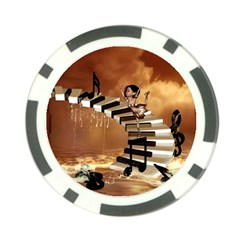 Cute Little Girl Dancing On A Piano Poker Chip Card Guard (10 Pack) by FantasyWorld7