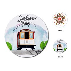 San Francisco Trolley California Bear Playing Cards (round)