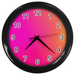 Pink Orange Yellow Ombre  Wall Clocks (black) by SimplyColor