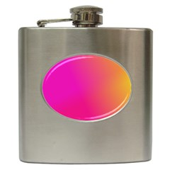 Pink Orange Yellow Ombre  Hip Flask (6 Oz) by SimplyColor