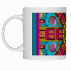 Sunny And Bohemian Sun Shines In Colors White Mugs by pepitasart