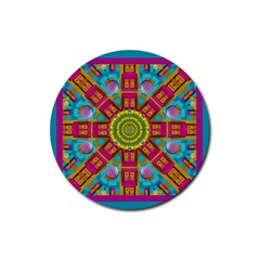 Sunny And Bohemian Sun Shines In Colors Rubber Coaster (round)  by pepitasart