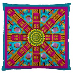 Sunny And Bohemian Sun Shines In Colors Large Flano Cushion Case (one Side) by pepitasart