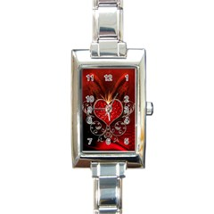 Wonderful Heart With Wings, Decorative Floral Elements Rectangle Italian Charm Watch by FantasyWorld7