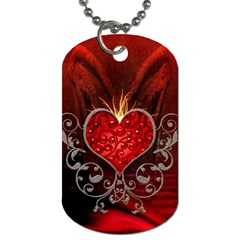 Wonderful Heart With Wings, Decorative Floral Elements Dog Tag (two Sides) by FantasyWorld7