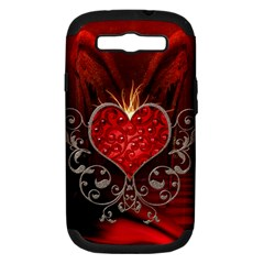 Wonderful Heart With Wings, Decorative Floral Elements Samsung Galaxy S Iii Hardshell Case (pc+silicone) by FantasyWorld7