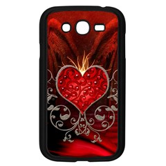 Wonderful Heart With Wings, Decorative Floral Elements Samsung Galaxy Grand Duos I9082 Case (black) by FantasyWorld7